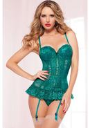 Kiss Of Envy Bustier W/ Thong-emrld-m