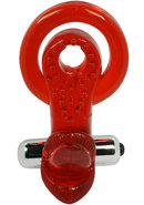 Xtreme Ring Of Xtasy Red Tongue Waterproof Cockring Red